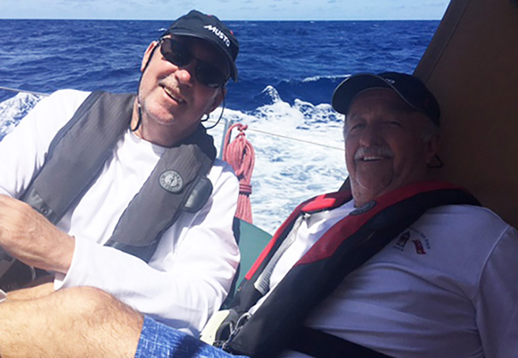 Dan with friend Bruce laughing their way to Bermuda