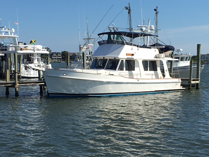 Nanuk, Grand Banks 46 Europa, at the dock in Ocracoke Harbor, NC