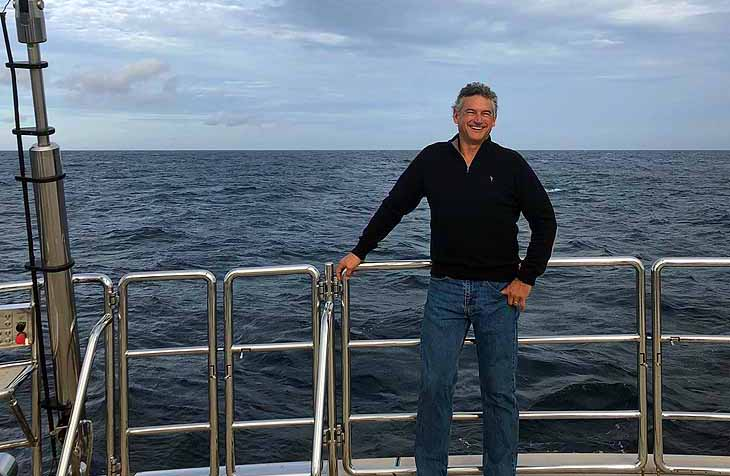 Steve Berson enjoying the view from the aft deck of SEAHAWK