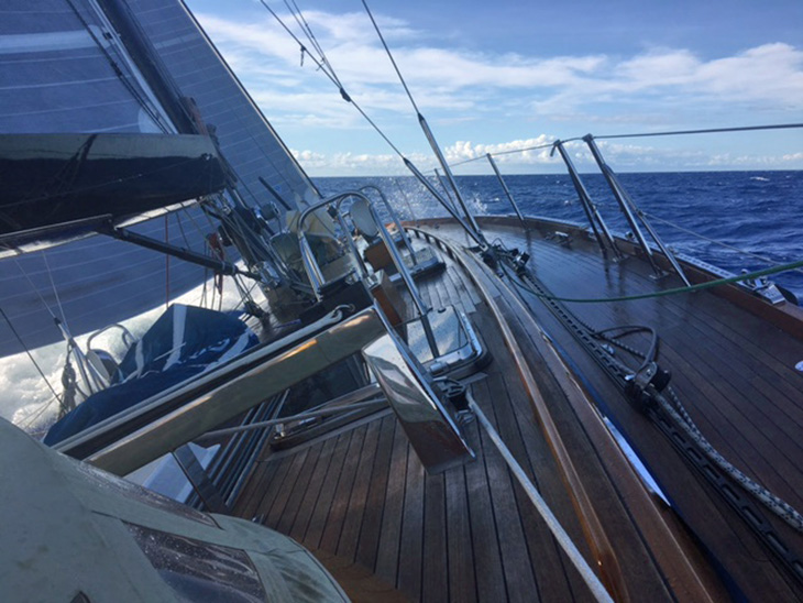 Windwalker II Close Reaching at 9 Knots 100 Miles from Finish in Bermuda