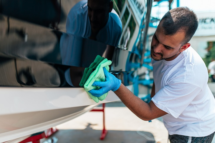 Detailing a Yacht Exterior During Commissioning